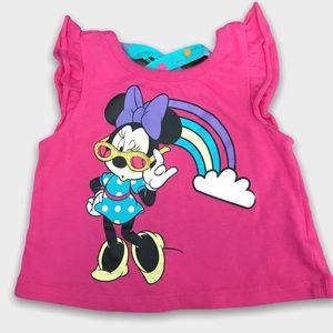 4/$20🥳 Pink Disney Minnie Mouse Rainbow Top